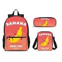 3Pcs/Set Portfolio School Bags For Boys Girls Funny Cartoon Banana Letter 3D Printing Backpacks Rugzak Bookbag Mochila Escolar