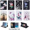 For Apple iPad mini123 Case Fashion Butterfly Flower Pattern Wallet Flip PU Leather Tablet Back Cover Funda For iPad mini 1 2 3