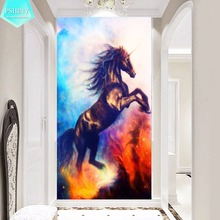 PSHINY DIY Diamond embroidery black unicorn kit brilliant color animal Picture diamond painting full square rhinestone display