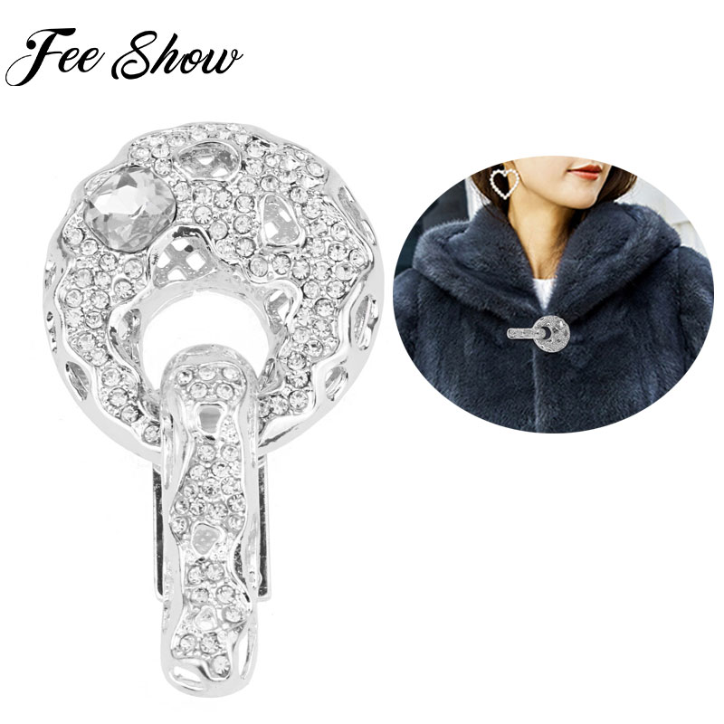 Women Fashion Rhinestone Crystal Button Duck-mouth Buckle for Fur Coats Garments Clothing Sewing Crafts Coat Brooches