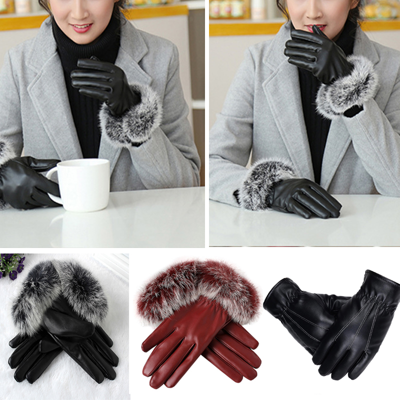 HTB1tUvEmxrI8KJjy0Fpq6z5hVXaw - Naiveroo Touch Screen Gloves PU Leather Women Gloves Waterproof Faux Rabbit Fur Thick Warm Spring Winter Gloves Christmas Gifts