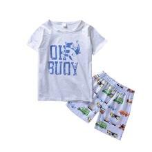 Комплект одежды для малышей белая футболка с принтом + шорты