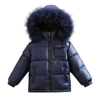 2~6Y Baby Russian Winter Colorful Real Racoon Fur Duck Down Jacket for Girls Outwear Boys Coats Kids Outdoor Snowsuit Waterproof