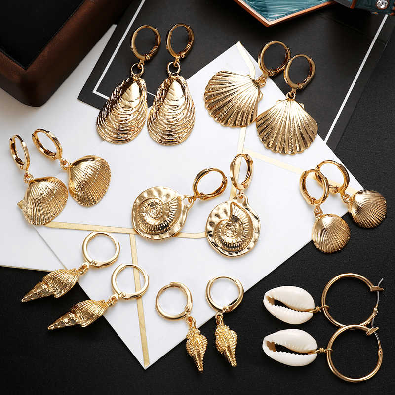 ZOSHI 2019 New Sea Shell Earrings For Women Gold Color Round Geometric Drop Shell Earrings Summer Beach Ladies Fashion Jewelry