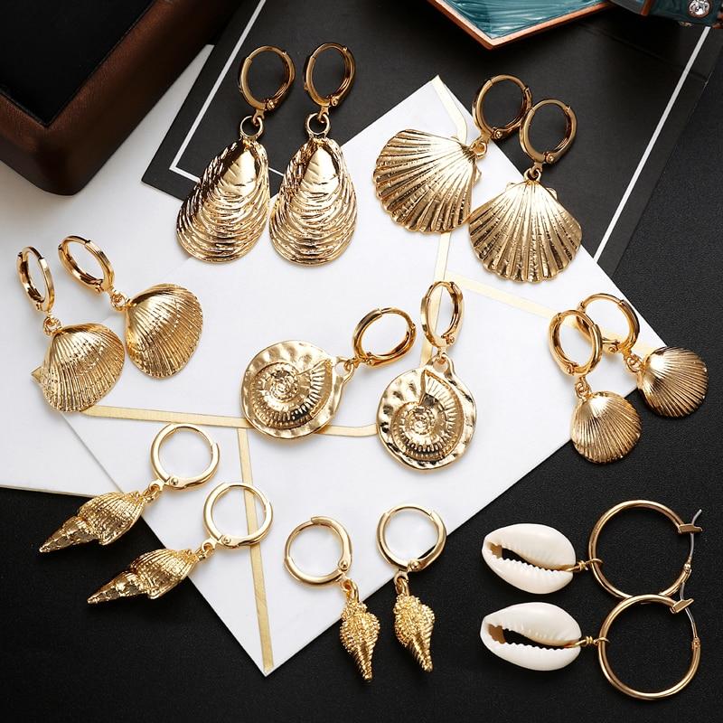 ZOSHI 2019 New Sea Shell Earrings For Women Gold Color Round Geometric Drop Shell Earrings Summer Beach Ladies Fashion Jewelry