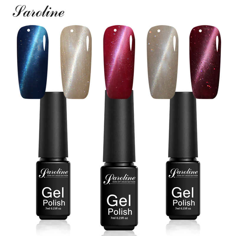 Saroline 3D Cat Eyes Gel Manicure UV Gel Color Polishe Semi-permanent 7ml Colorful Cats Eye Nail Gel Polish 3D Magnet Varnish