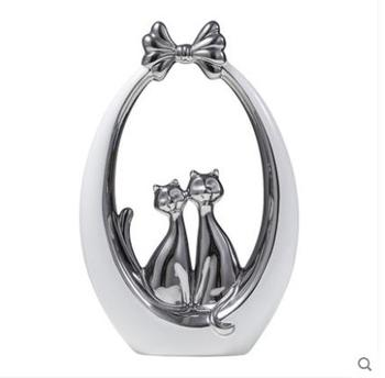 white silver ceramic cute cat lovers statue home decor crafts room decoration porcelain animal figurine wedding decoration gifts