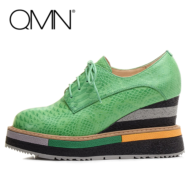 QMN women snake-effect leather brogue shoes Women Round Toe Platform Oxfords Shoes Woman Genuine Leather Casual Platform Flats qmn women brushed leather platform brogue shoes women round toe lace up oxfords flat casual shoes woman genuine leather flats
