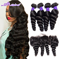 13X4 Ear To Ear Lace Frontal Closure With Bundles Peruvian Loose Wave Virgin Human Hair 3 / 4 Bundles With Lace Frontal Closure