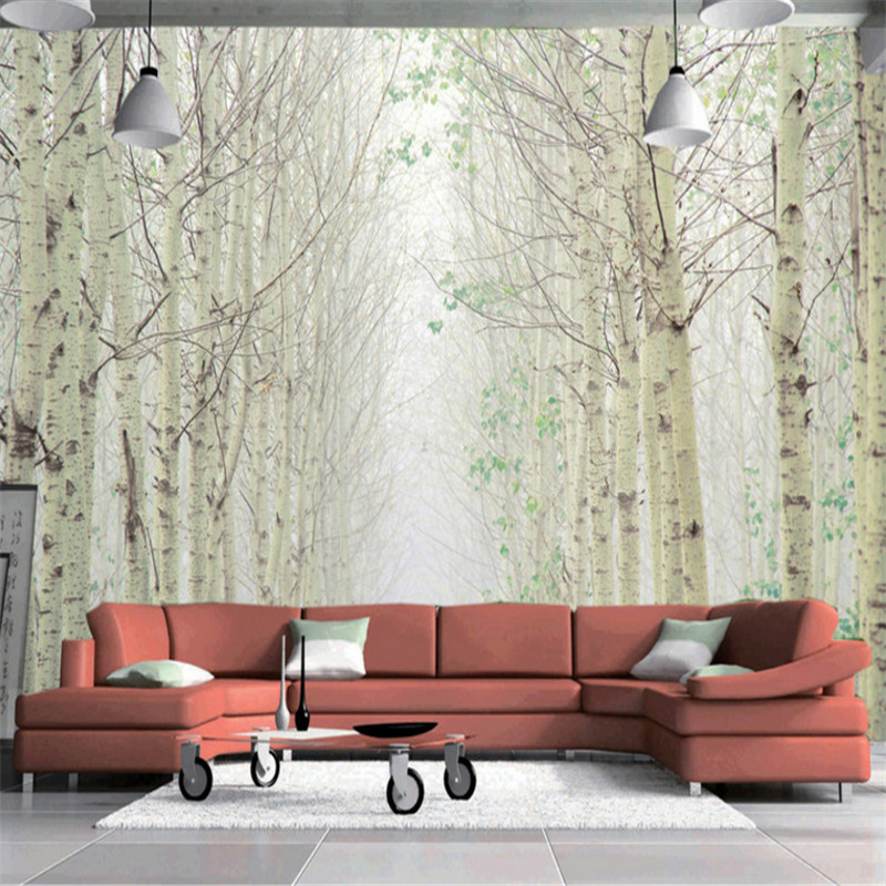 custom modern 3d non-woven mural wallpaper 3d photo white birch forest landscape painting background wall painting home decor free shipping hepburn classic black and white photographs women s clothing store cafe background mural non woven wallpaper