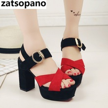 Zatsopano 2019 summer new thick with cross fish mouth sandals women's high-heeled shoes waterproof platform hollow female shoes цена 2017