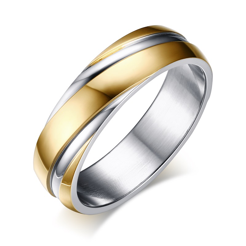 Meaeguet 6mm Stainless Steel Wedding Bands Two Tone Grooves Engagement Rings For Men Or Women