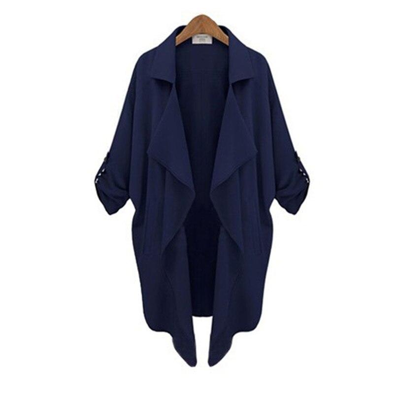 Ladies casual long trench coat outwear oversize women lapel belt pocket women windbreakers plus size women streetwear tops
