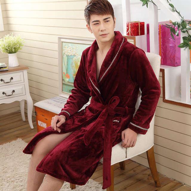 854a68c2b5 Sexy Men Women Luxury Winter Bathrobe Mens Warm Silk Flannel Long Kimono  Bath Robe Male Bathrobes