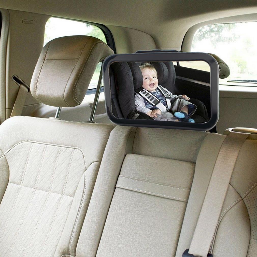Cinto ajustável de volta assento do carro espelho interior quadrado face traseira encosto cabeça montagem espelho segurança do bebê crianças monitor do carro estilo