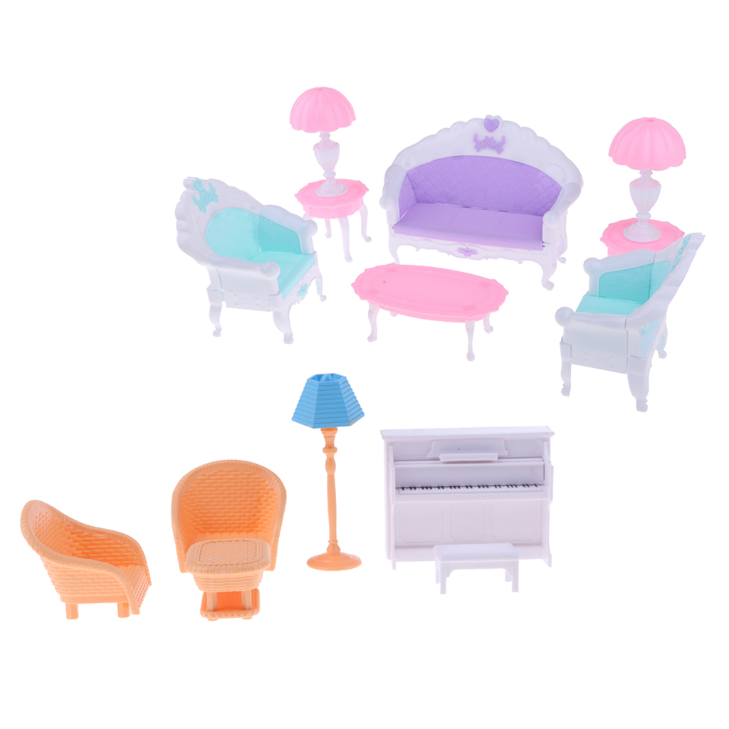 Dollhouse Miniature Plastic European Sofa Chair End Table Piano Set Furniture Accessories Good Companions For Children As Well As Adults Home