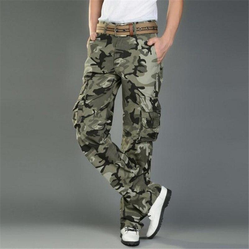Мужские армейские многофункциональные повседневные свободные длинные брюки-карго, рабочие камуфляжные брюки, размер 28-38