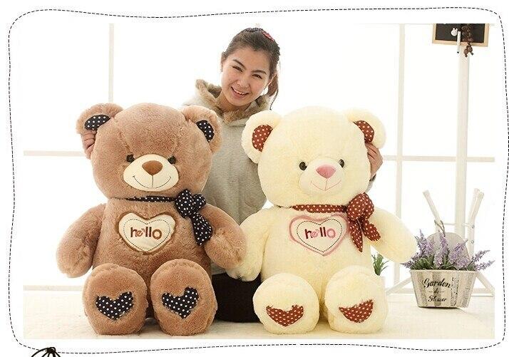 90cm hello teddy bear plush toy doll , white  or brown colour , birthday gift b7829 stuffed animal toy missubear bear plush toy bear doll pink or brown colour choices huge 90cm bear doll gift w4768