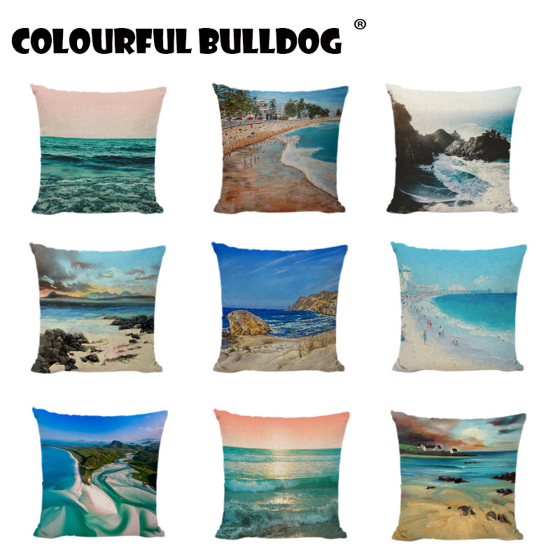 Ocean Style Cushion Covers Seaside Scenery Printed Home Decor Bench Seats Coastal Linen Cotton Lumbar Support Throw Pillow Cover