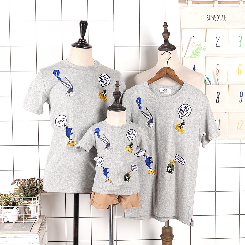 Household Matching Outfits Cartoon Bunny Children Summer season Tees Quick Sleeve Shirts Cotton Household Look Clothes Dad and mom & Children BEBES Tops Matching Household Outfits, Low-cost Matching Household...