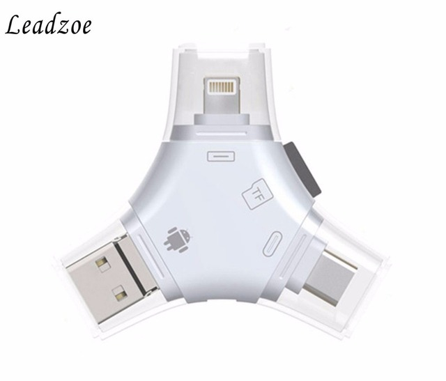 sports shoes 22e45 a10ee US $9.63 17% OFF|4 in 1 Type c Lightning Micro USB USB 2.0 Memory Card  Reader Micro SD Card Reader For Android iPad iPhone 7 plus 6s OTG Reader-in  ...