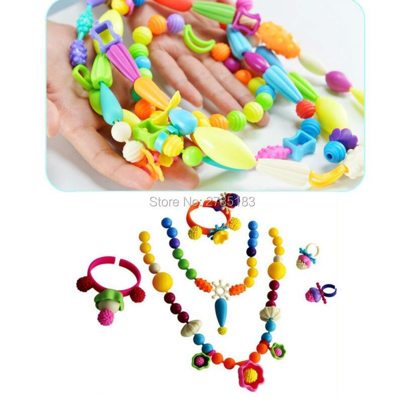 f58aa24f111e Cuentas Pop juguetes Snap Together collar y pulsera artesanías joyería moda  Kit DIY juguete educativo para niños manualidades DIY joyería Juguetes