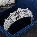 Nueva forma de arte aleación insertar grande escasa corona nupcial accesorios pelo de la boda decorado principal nupcial tiara