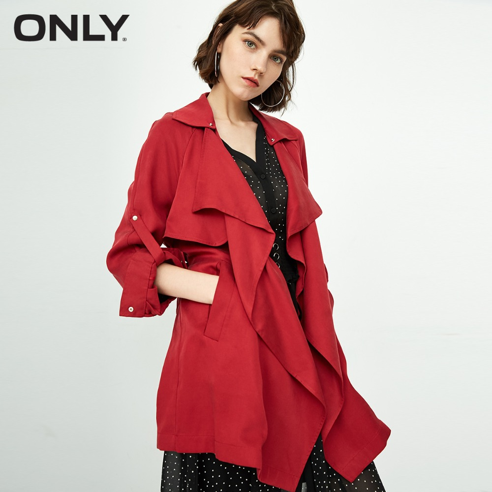 ONLY Women's  new style tencel strap with long trench coat | 118336505