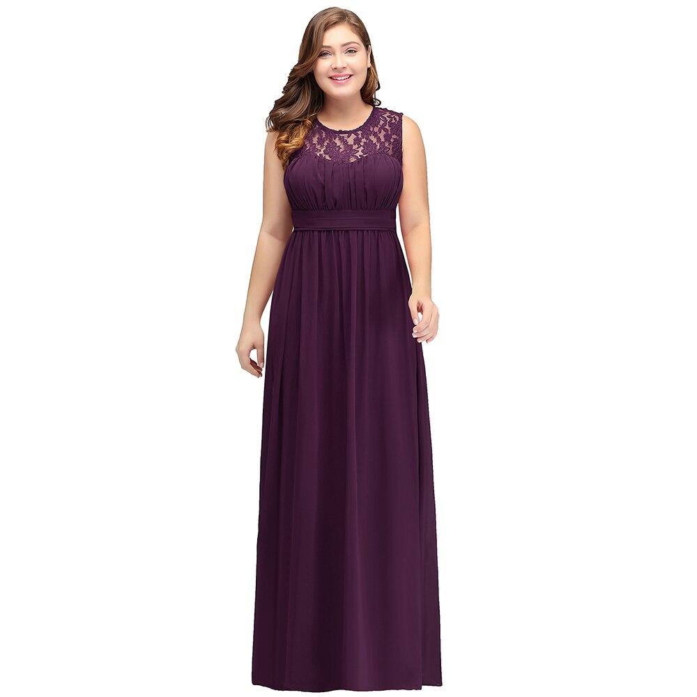 Robe demoiselle d honneur Cheap Purple Chiffon Plus Size Bridesmaid Dresses Long 2019 New Wedding Party