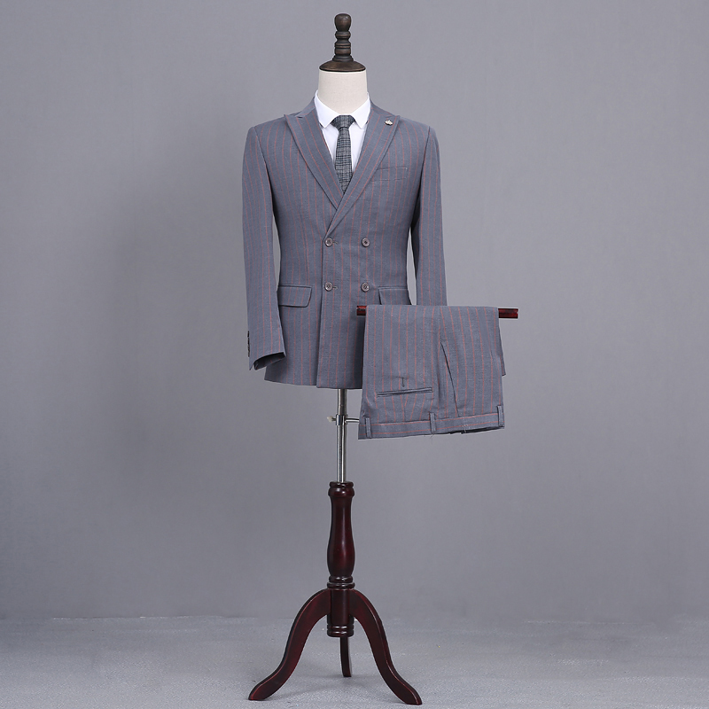 Latest Coat Pant Designs Gray Tweed Groom Tuxedo Double Breasted Blazer Red Stripe Mens Wedding Prom Dinner Suits Man Suit Terno