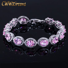 CWWZircons Brand New Trendy Design 0.8ct Round Cut Pink Cubic Zirconia Wedding Bracelet For Women Party Gift Jewelry CB178(China)