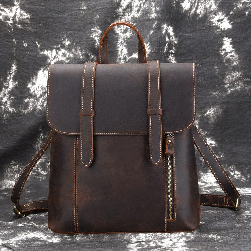 男性バックパックヴィンテージデイパック大容量ショルダーバッグナップザック高品質狂気の馬の牛革本革リュックサック  グループ上の スーツケース & バッグ からの バックパック の中 1