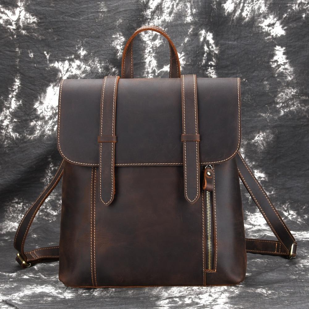 Hommes sac à dos Vintage sac à dos grande capacité sacs à bandoulière sac à dos de haute qualité Crazy Horse peau de vache en cuir véritable sac à dos-in Sacs à dos from Baggages et sacs    1