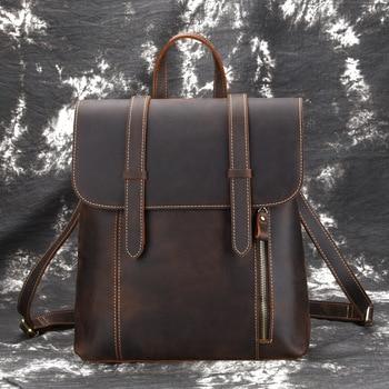 Men Backpack Vintage Daypack Large Capacity Shoulder Bags Knapsack High Quality Crazy Horse Cowhide Genuine Leather Rucksack
