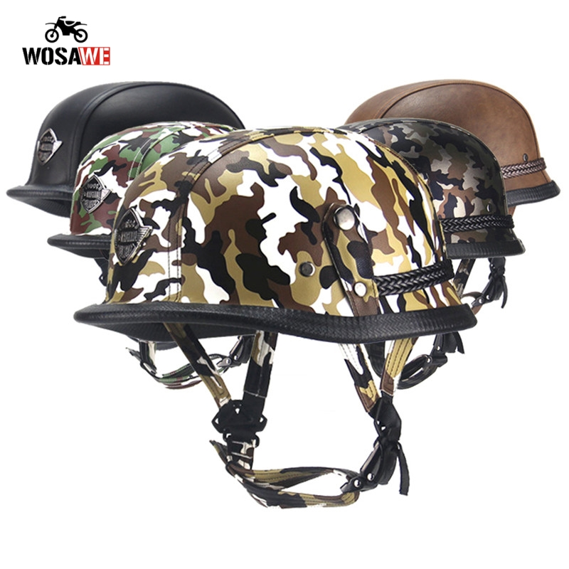 Motorcycle Half Helmet Bicycle Helmet ABS Leather Camouflage Safety Hard Hat Moto retro Helmet for Motocross Military Tactical-in Helmets from Automobiles & Motorcycles