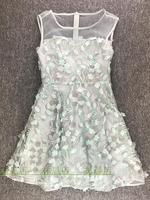 Модная одежда Аппликации из блесток платье Женщины взлетно посадочной полосы Платье бежевое кружевное сексуальное короткое Сетчатое праз