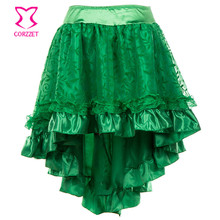 Retro Green Floral Tulle Asymmetrical Satin & Lace Steampunk Skirts Midi Skirt Plus Size Fluffy for Women