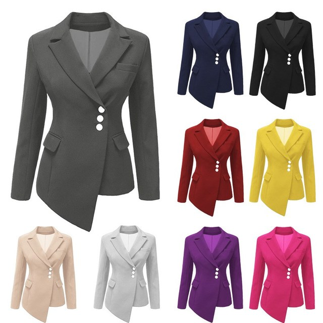 Plus Size Autumn Solid Short Blazer Women Casual Asymmetric Suit Coat Office Lady Slim Blazer Jacket 1
