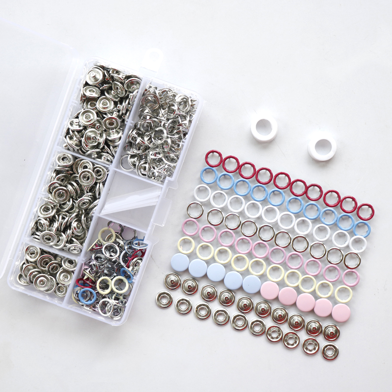 110 Sets 7 Colors 9.5mm Metal Copper Prong Snap Buttons Fasteners Press Studs Poppers HD076  цены