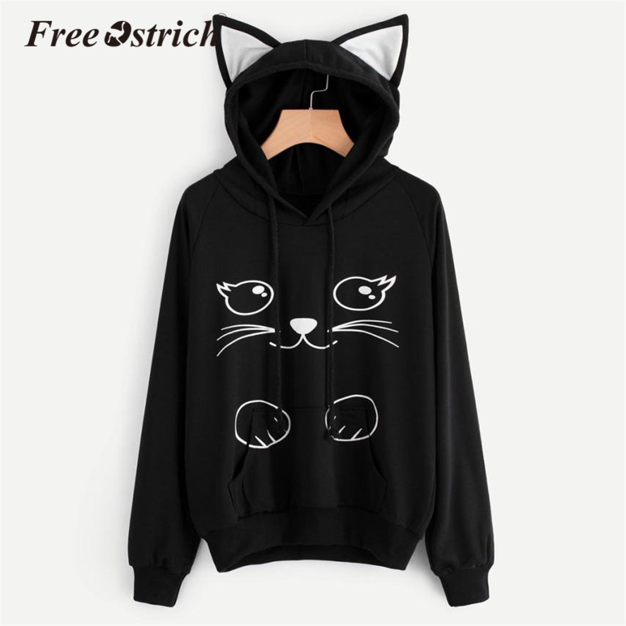 FREE OSTRICH Women Ears Hooded Jumper Cat Pattem Long Sleeve Sweatshirt Pullover Causal Tops Moletom Sudadera Mujer Oct13