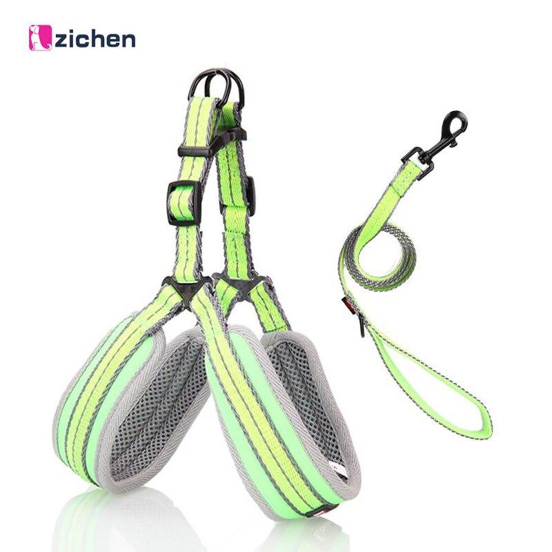 Zichen Reflective Dog Harness Leash Set Adjustable Breathable Durable Mesh for Dog Training Leash Harness Vest Control S/M/L