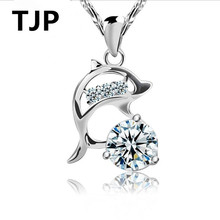 TJP Cute Dolphin Bright Crystal Women Pendants Necklace Jewelry Fashion 925 Sterling Silver Choker For Girl Promise