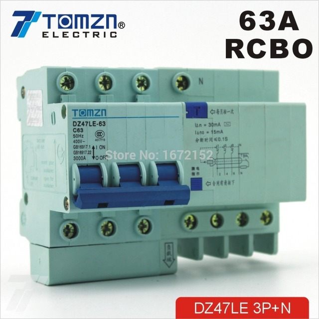 DZ47LE 3P+N 63A 400V~ 50HZ/60HZ Residual current Circuit breaker with over current and Leakage protection RCBO