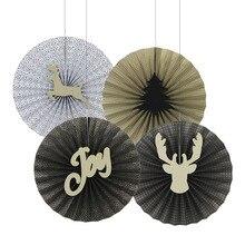 New! Retro (Gold,Black) Christmas Paper Fans Pinwheel Rosettes Holiday Backdrop Craft Kit Party Decor