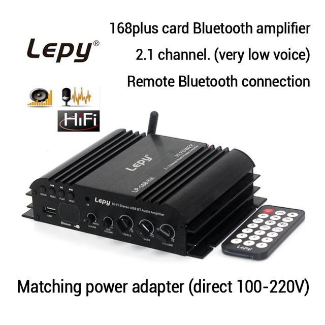 Best Price Lepy LP168 Plus  2.1 Channel Car Amplifier 3.55MM Audio Wired Super Bass HiFi Stereo Bass Output Power