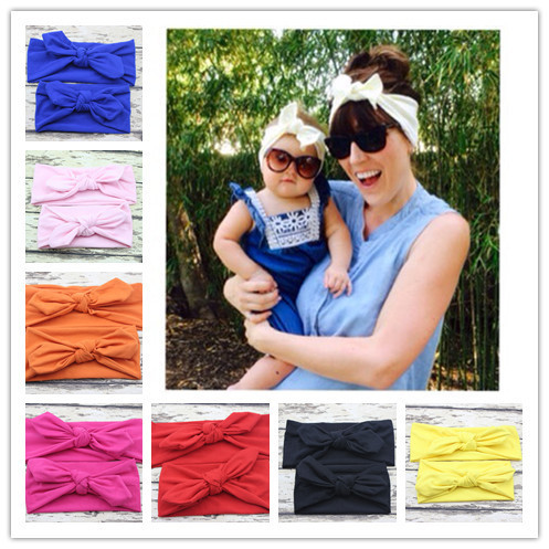 2016 New Fashion mom and me headband Turban Headband Pair Set Top Knotted Headband Set Baby and Mommy Cotton Headwrap Set 1 SET