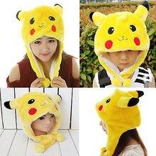 Kids Unsex Adult pikachu Pattern Plush Winter Hat POKEMON Hat Best Gift Cap Yellow