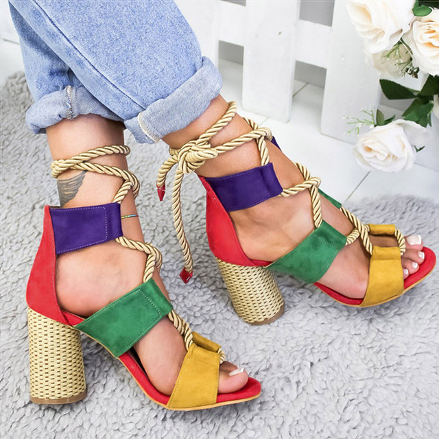 Women Pumps Lace Up High Heels Women Gladiator Sandals For Party Wedding Shoes Woman Summer Sandals Thick Heels Chaussures Femme 2