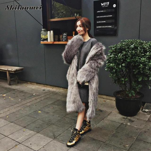 e9b09a39be Rabbit Faux Fur Coat Jacket Fur Women Outerwear Long Mink Fluffy Jacket  Winter Overcoat Imitation pink fur coats S-3XL fourrure