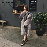 Rabbit Faux Fur Coat Jacket Fur Women Outerwear Long Mink Fluffy Jacket Winter Overcoat Imitation pink fur coats S 3XL fourrure